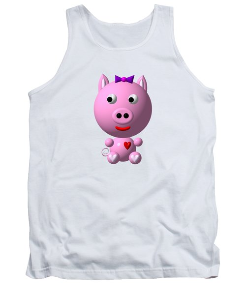 Cute Pink Pig With Purple Bow Tank Top