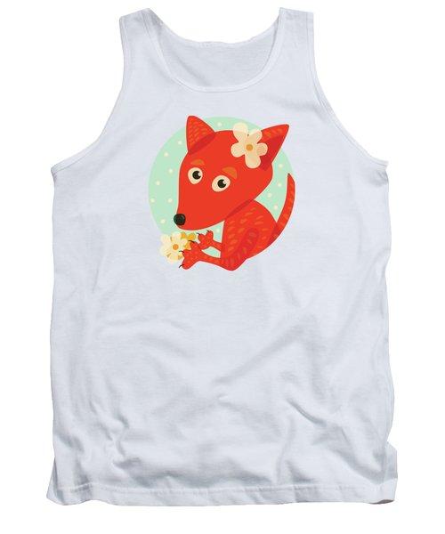 Cute Pretty Fox With Flowers Tank Top
