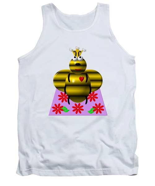 Cute Queen Bee On A Quilt Tank Top