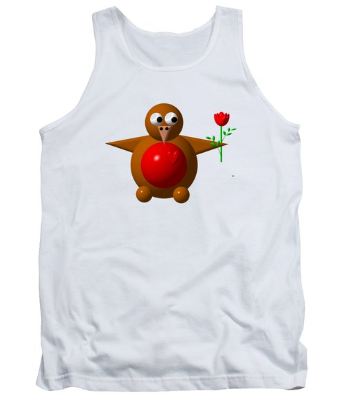 Cute Robin With Rose Tank Top by Rose Santuci-Sofranko