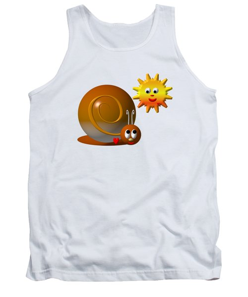 Cute Snail With Smiling Sun Tank Top by Rose Santuci-Sofranko