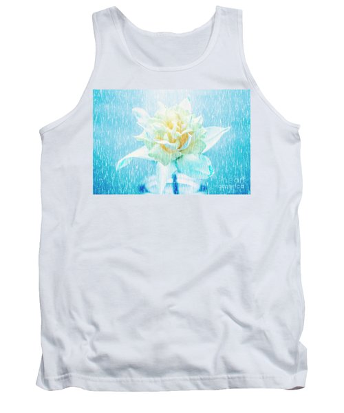 Tank Top featuring the photograph Daffodil Flower In Rain. Digital Art by Jorgo Photography - Wall Art Gallery