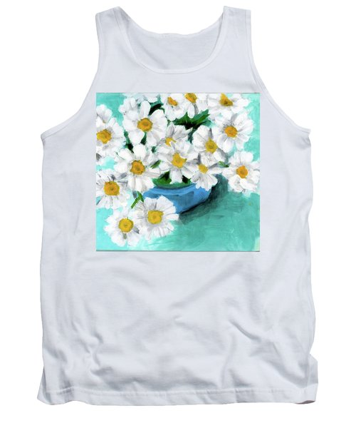 Daisies In Blue Bowl Tank Top