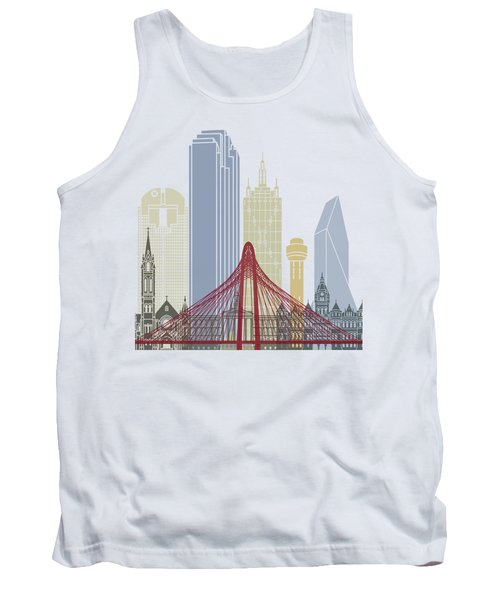 Dallas Skyline Poster Tank Top by Pablo Romero