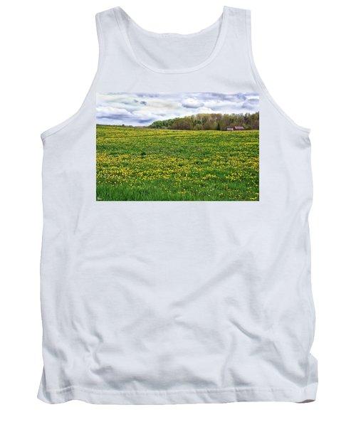 Dandelion Field With Barn Tank Top