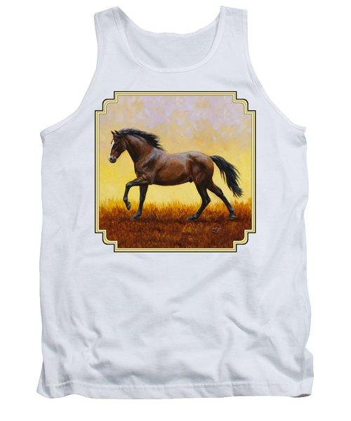Dark Bay Running Horse Yellow Tank Top