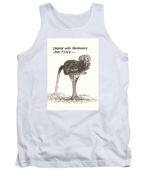 Tank Top featuring the drawing Dealing Just Fine by Denise Fulmer