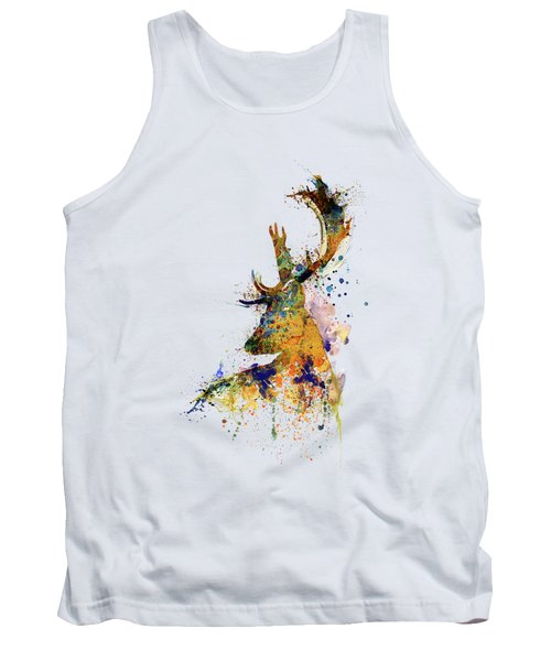 Deer Head Watercolor Silhouette Tank Top