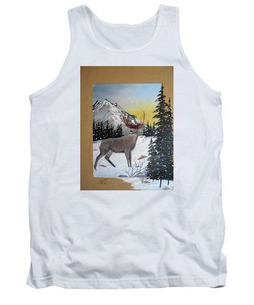 Tank Top featuring the painting Deer Hunter's Dream by Al  Johannessen
