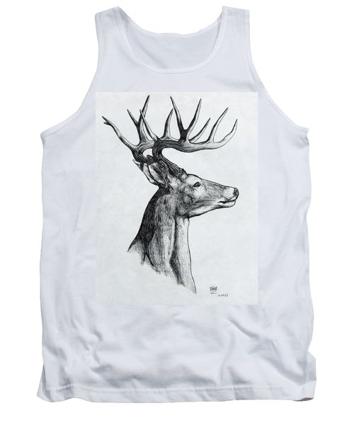 Tank Top featuring the drawing Deer by Michael  TMAD Finney