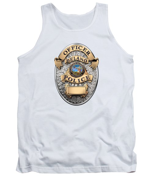 Tank Top featuring the digital art Delano Police Department - Officer Badge Over White Leather by Serge Averbukh