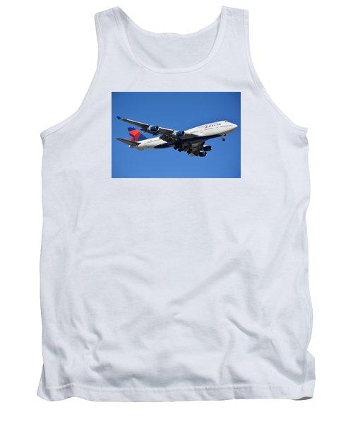 Delta Boeing 747-451 N662us Phoenix Sky Harbor January 12 2015 Tank Top by Brian Lockett