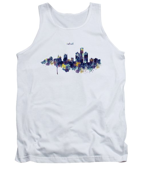 Detroit Skyline Silhouette Tank Top by Marian Voicu