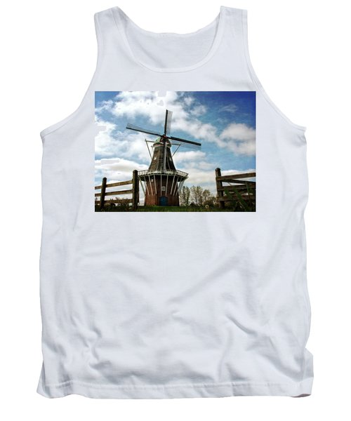Tank Top featuring the photograph Dezwaan Windmill With Fence And Clouds by Michelle Calkins