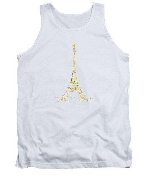 Digital-art Eiffel Tower - White And Golden Tank Top by Melanie Viola