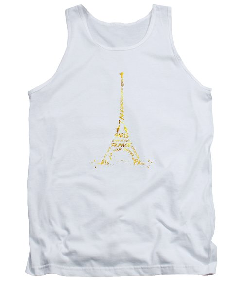Digital-art Eiffel Tower - White And Golden Tank Top
