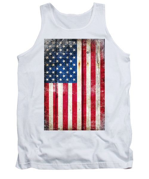 Distressed American Flag On Wood - Vertical Tank Top by M L C