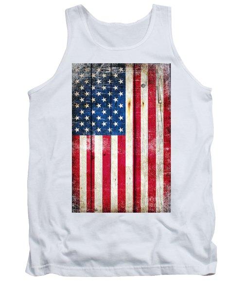 Distressed American Flag On Wood - Vertical Tank Top