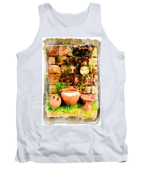Tank Top featuring the photograph Do-00348 Jars In Byblos by Digital Oil
