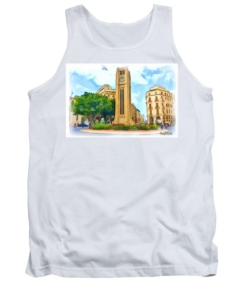 Do-00358 The Clock Tower Tank Top by Digital Oil