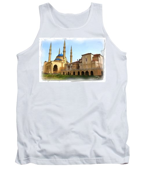 Tank Top featuring the photograph Do-00362al Amin Mosque And St George Maronite Cathedral by Digital Oil