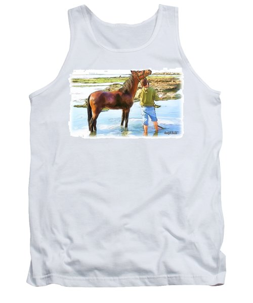 Do-00421 Washing Horse In Mina Tank Top by Digital Oil