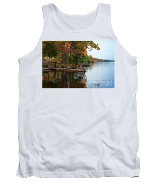 Dock On Lake In Fall Tank Top