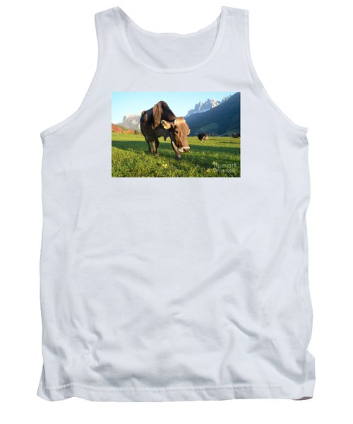 Dolomites Mountain Cow Close-up Tank Top by IPics Photography