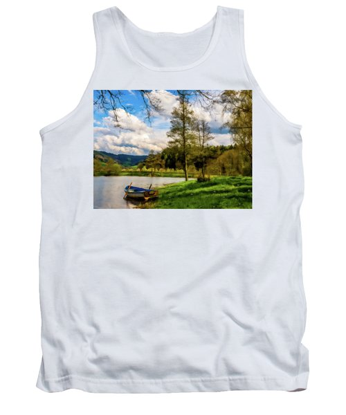 Tank Top featuring the photograph Down By The Lake Photodigitalpainting by David Dehner