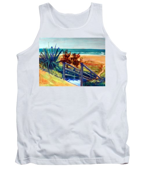 Tank Top featuring the painting Down The Stairs To The Beach by Winsome Gunning