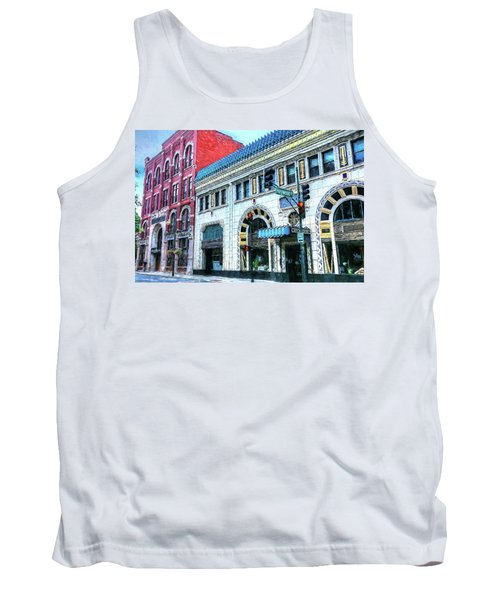 Downtown Asheville City Street Scene Painted  Tank Top