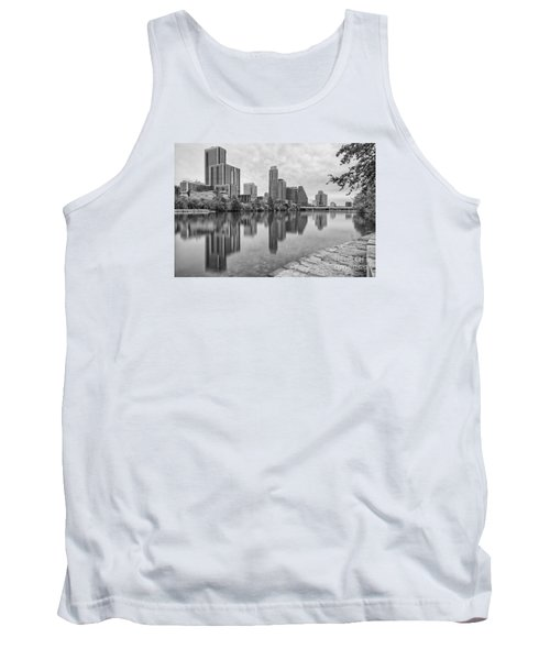 Downtown Austin In Black And White Across Lady Bird Lake - Colorado River Texas Hill Country Tank Top
