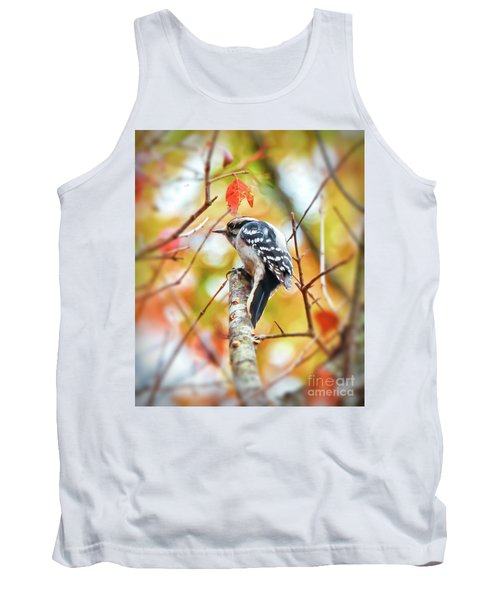 Downy Woodpecker In Autumn Forest Tank Top