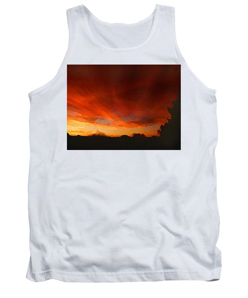 Tank Top featuring the digital art Drama At Sunrise by Shelli Fitzpatrick