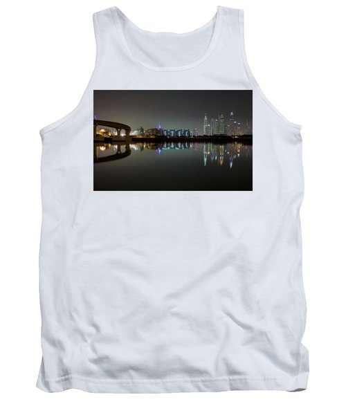 Dubai City Skyline Night Time Reflection Tank Top