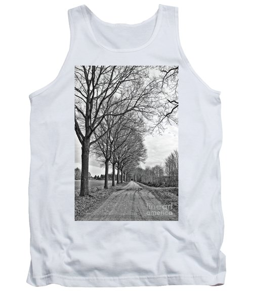Dutch Road In Winter Black And White Tank Top