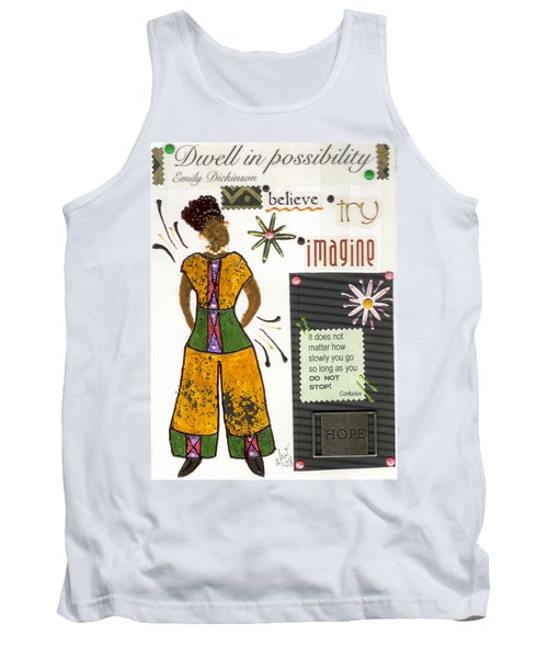 Tank Top featuring the mixed media Dwell In Possibility by Angela L Walker