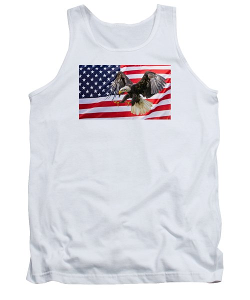 Eagle And Flag Tank Top by Scott Carruthers