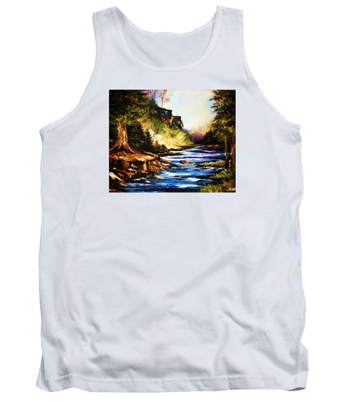 Tank Top featuring the painting Early Dawn Campfire by Al Brown