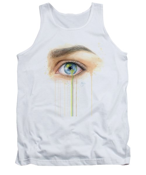 Earth In The Eye Crying Planet Tank Top