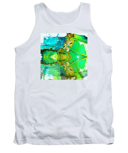 Tank Top featuring the painting Earth Water Sky Abstract by Carolyn Repka