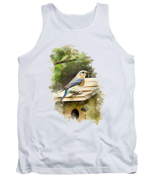 Eastern Bluebird Watercolor Art Tank Top by Christina Rollo