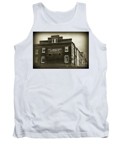 Tank Top featuring the photograph Eat Berthas Mussels In Black And White by Paul Ward