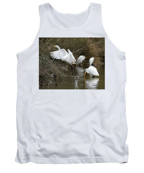Tank Top featuring the photograph Egret Exit by George Randy Bass