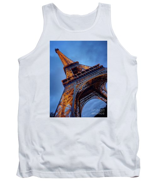 Tank Top featuring the photograph Eiffel Dressed In Gold by Kim Andelkovic