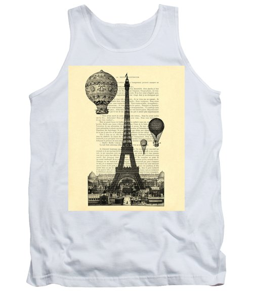 Eiffel Tower And Hot Air Balloons Tank Top