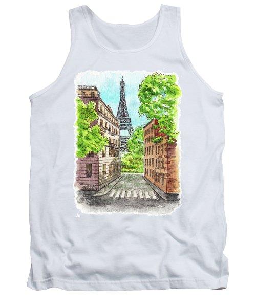 Tank Top featuring the painting Eiffel Tower Summer Paris Day by Irina Sztukowski