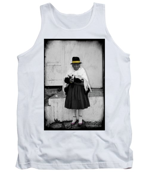Elderly Beggar In Biblian Tank Top by Al Bourassa