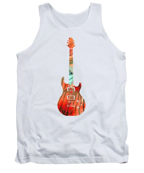 Tank Top featuring the painting Electric Guitar 2 - Buy Colorful Abstract Musical Instrument by Sharon Cummings