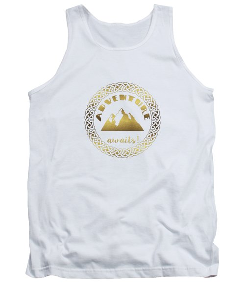 Elegant Gold Foil Adventure Awaits Typography Celtic Knot Tank Top